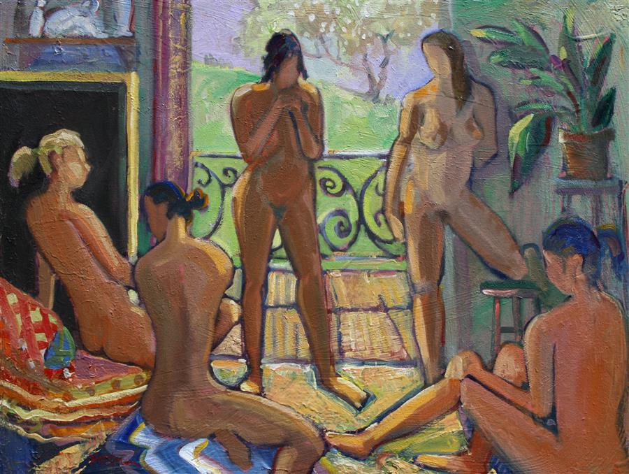 Original art for sale at UGallery.com | Meeting of the Muses by JAMES HARTMAN | $1,975 | Oil painting | 30' h x 40' w | ..\art\oil-painting-Meeting-of-the-Muses