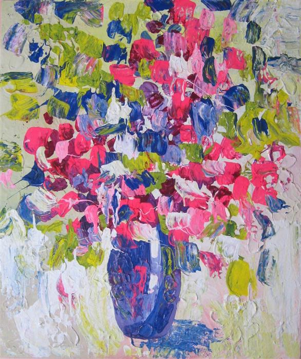 Original art for sale at UGallery.com | Vase with Flowers by NATASHA TAYLES | $650 |  | 24' h x 20' w | ..\art\acrylic-painting-Vase-with-Flowers