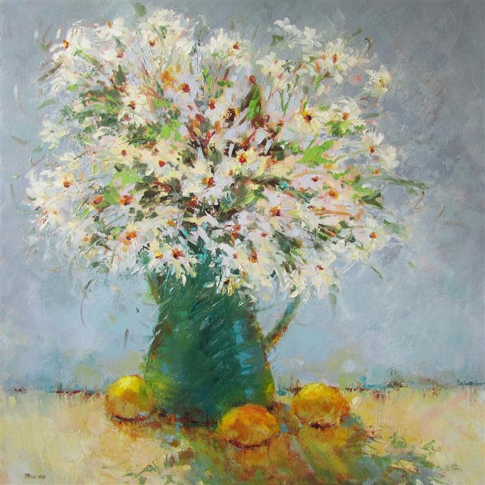 Original art for sale at UGallery.com | Lemons & Daises by TRICIA MAY | $2,700 | Oil painting | 30' h x 30' w | ..\art\oil-painting-Lemons-Daises