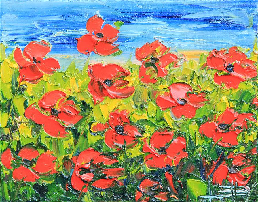 Original art for sale at UGallery.com | Evening Poppies by LISA ELLEY | $325 |  | 8' h x 10' w | ..\art\oil-painting-Evening-Poppies