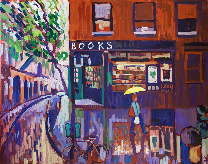 Original art for sale at UGallery.com | Bookstore by ROBERT HOFHERR | $1,050 | Acrylic painting | 24' h x 30' w | ..\art\acrylic-painting-Bookstore