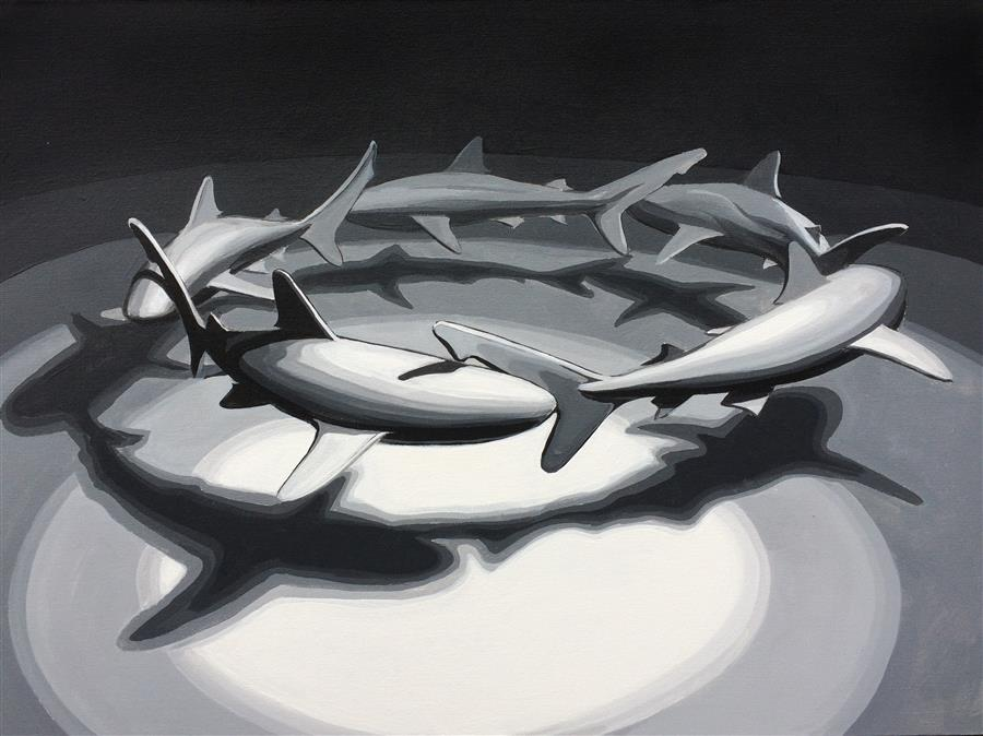 Original art for sale at UGallery.com | Shark Circle 2 by DAVID SHOWALTER | $1,775 | Acrylic painting | 30' h x 40' w | ..\art\acrylic-painting-Shark-Circle-2