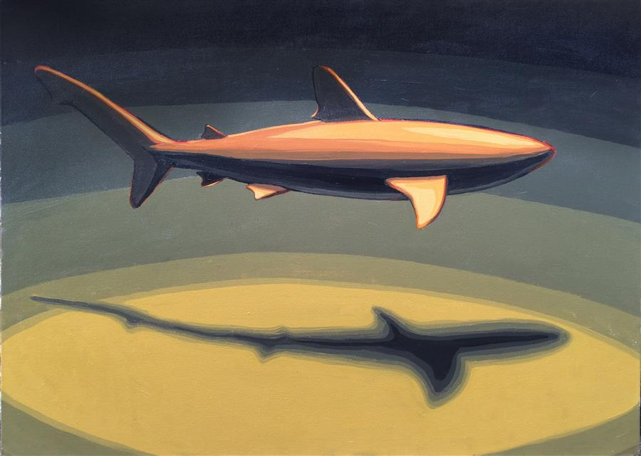Original art for sale at UGallery.com | Single Shark by DAVID SHOWALTER | $1,900 | Acrylic painting | 30' h x 40' w | ..\art\acrylic-painting-Single-Shark