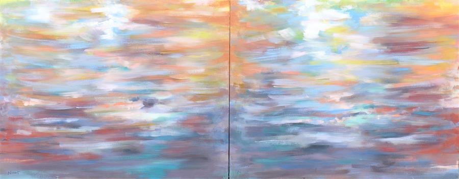 Original art for sale at UGallery.com | Hot Disturbance by CLÉMENT NIVERT | $4,350 | Oil painting | 29' h x 72' w | ..\art\oil-painting-Hot-Disturbance