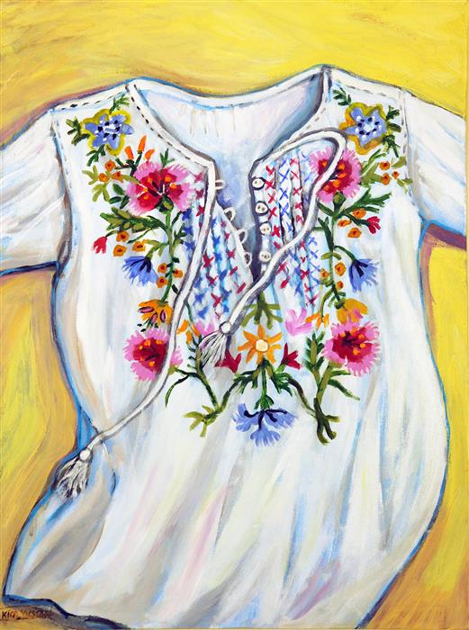 Original art for sale at UGallery.com | Embroidered Shirt by KIRA YUSTAK | $700 | Acrylic painting | 24' h x 18' w | ..\art\acrylic-painting-Embroidered-Shirt