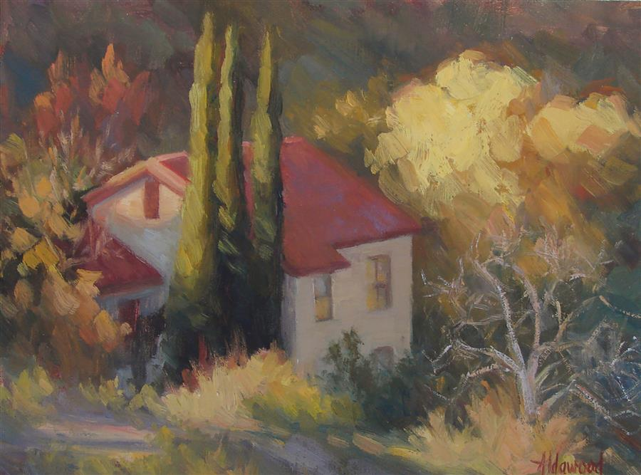 Original art for sale at UGallery.com | House on Mingus Mountain by SHERRI ALDAWOOD | $350 | Oil painting | 9' h x 12' w | ..\art\oil-painting-House-on-Mingus-Mountain