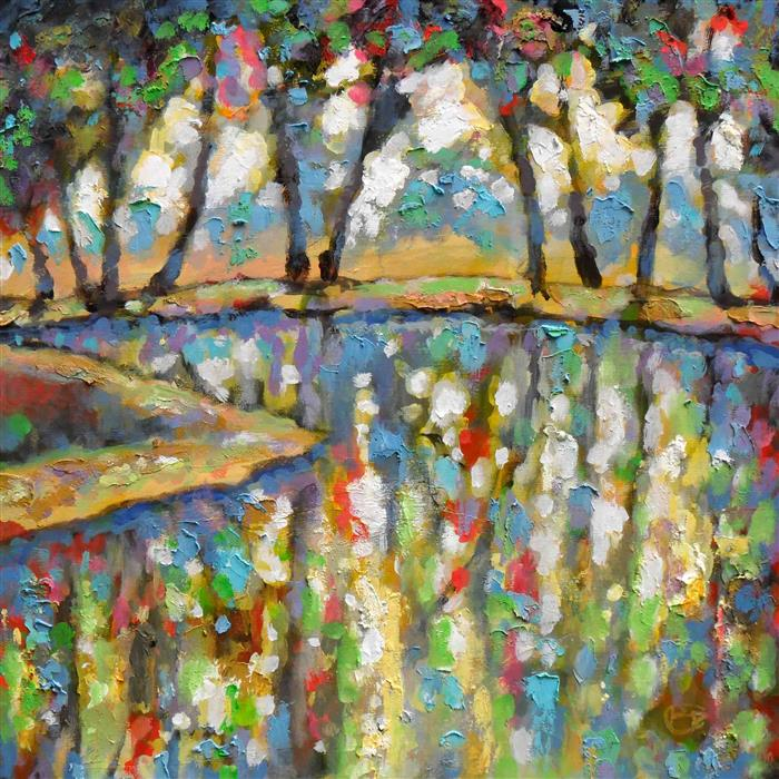 Original art for sale at UGallery.com | June Pond by KIP DECKER | $1,925 | Acrylic painting | 30' h x 30' w | ..\art\acrylic-painting-June-Pond
