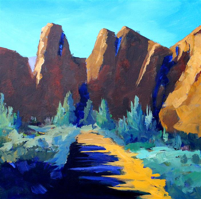Original art for sale at UGallery.com | Smith Rock by NANCY MERKLE | $900 |  | 20' h x 20' w | ..\art\acrylic-painting-Smith-Rock