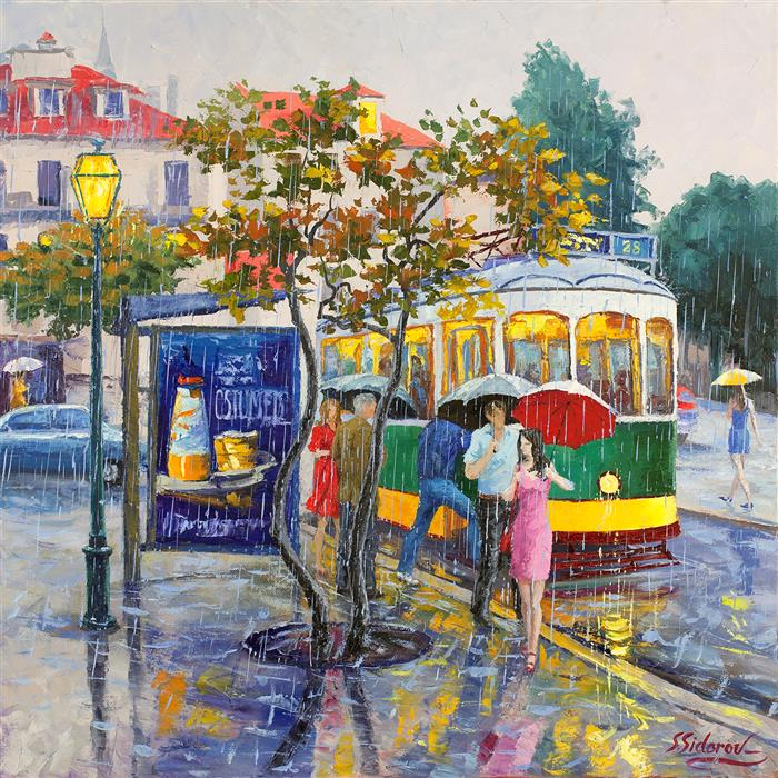 Original art for sale at UGallery.com | Rainy Day, Lisbon Portugal by STANISLAV SIDOROV | $1,350 |  | 24' h x 24' w | ..\art\oil-painting-Rainy-Day-Lisbon-Portugal