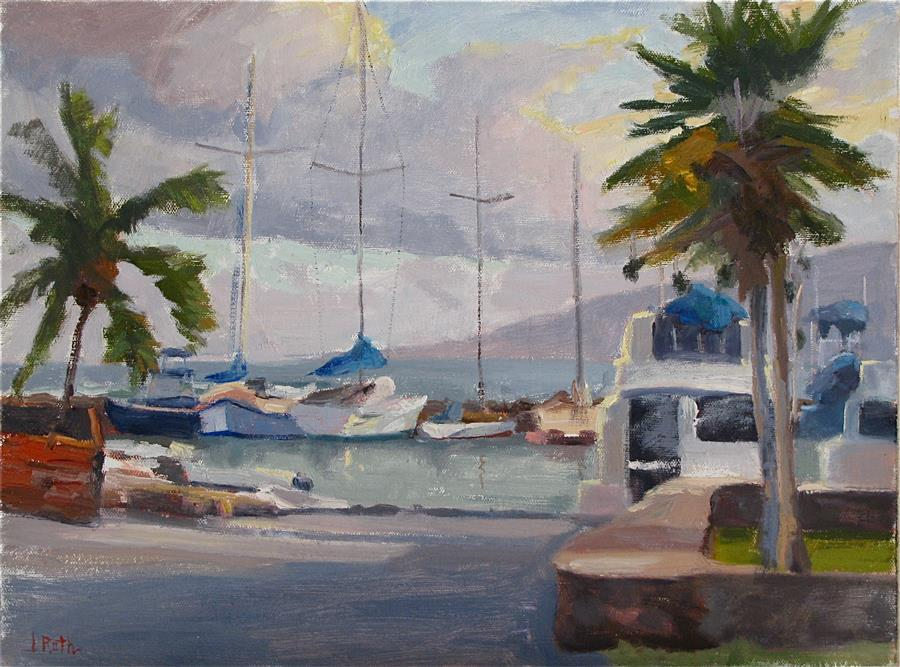 Original art for sale at UGallery.com | The Golden Hour at Lahaina Harbor by JAMIE ROTH | $750 | Oil painting | 12' h x 16' w | ..\art\oil-painting-The-Golden-Hour-at-Lahaina-Harbor