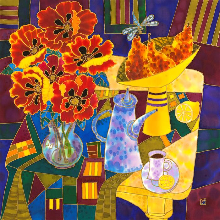 Original art for sale at UGallery.com | Summer Delight. Still Life. by YELENA SIDOROVA | $1,050 |  | 24' h x 24' w | ..\art\mixed-media-artwork-Summer-Delight-Still-Life