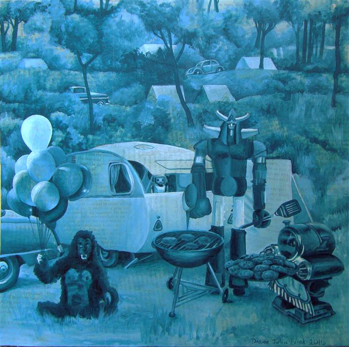 Original art for sale at UGallery.com | Still Life with Camper by Diane Flick | $1,275 | mixed media artwork | 12' h x 12' w | ..\art\mixed-media-artwork-Still-Life-with-Camper