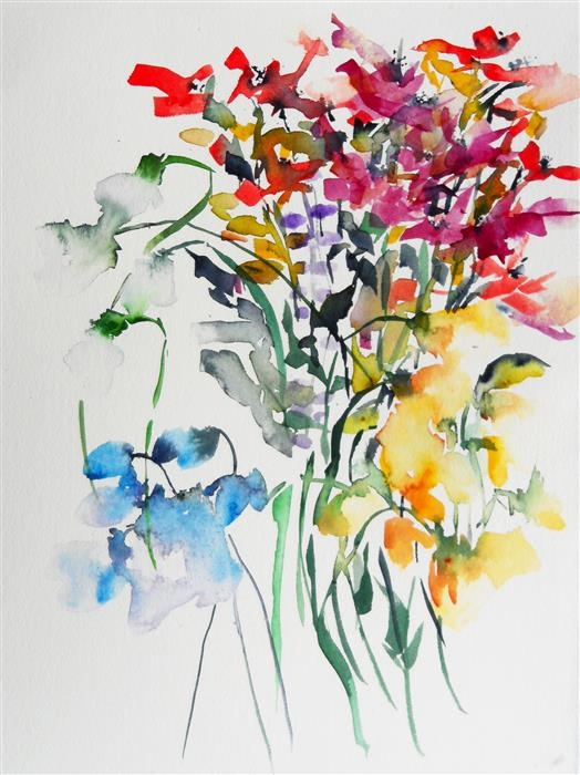 Original art for sale at UGallery.com | Spring Bouquet III by KARIN JOHANNESSON | $375 |  | 14' h x 11' w | ..\art\watercolor-painting-Spring-Bouquet-III