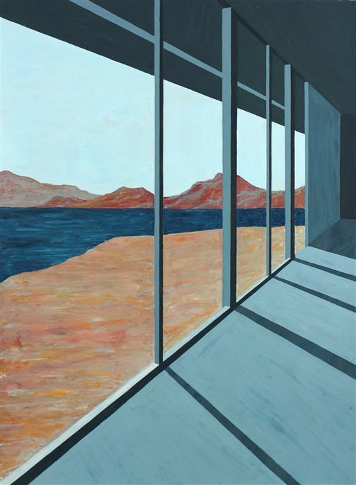 Original art for sale at UGallery.com | Desert Lake II (Architected Landscape 9) by JESSICA ECKER | $1,100 | Gouache painting | 30' h x 22.5' w | ..\art\gouache-painting-Desert-Lake-II-Architected-Landscape-9