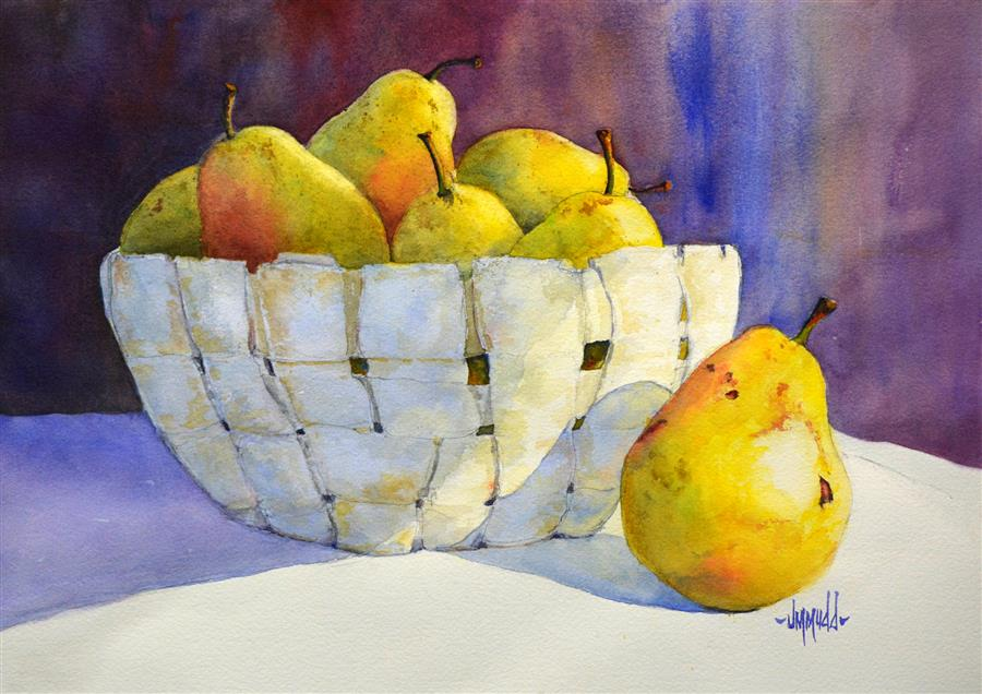 Original art for sale at UGallery.com | Pears in a Basket by JUDY MUDD | $575 | Watercolor painting | 11' h x 15' w | ..\art\watercolor-painting-Pears-in-a-Basket