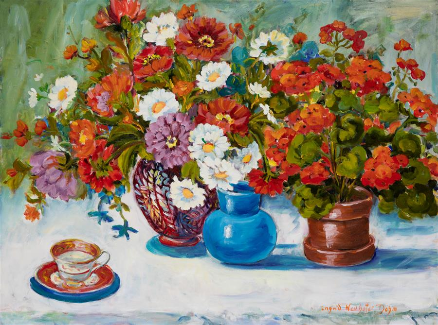 Original art for sale at UGallery.com | Geraniums and Daisies by INGRID DOHM | $3,500 |  | 30' h x 40' w | ..\art\acrylic-painting-Geraniums-and-Daisies