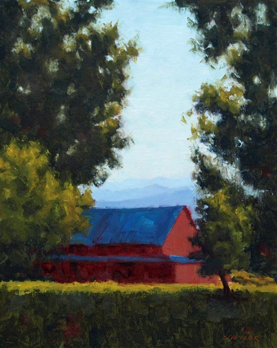 Original art for sale at UGallery.com | Red Barn by RODGERS NAYLOR | $1,125 |  | 20' h x 16' w | ..\art\oil-painting-Red-Barn-44801