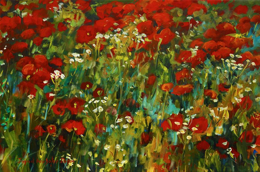 Original art for sale at UGallery.com | Poppies by INGRID DOHM | $2,800 |  | 24' h x 36' w | ..\art\acrylic-painting-Poppies-46666