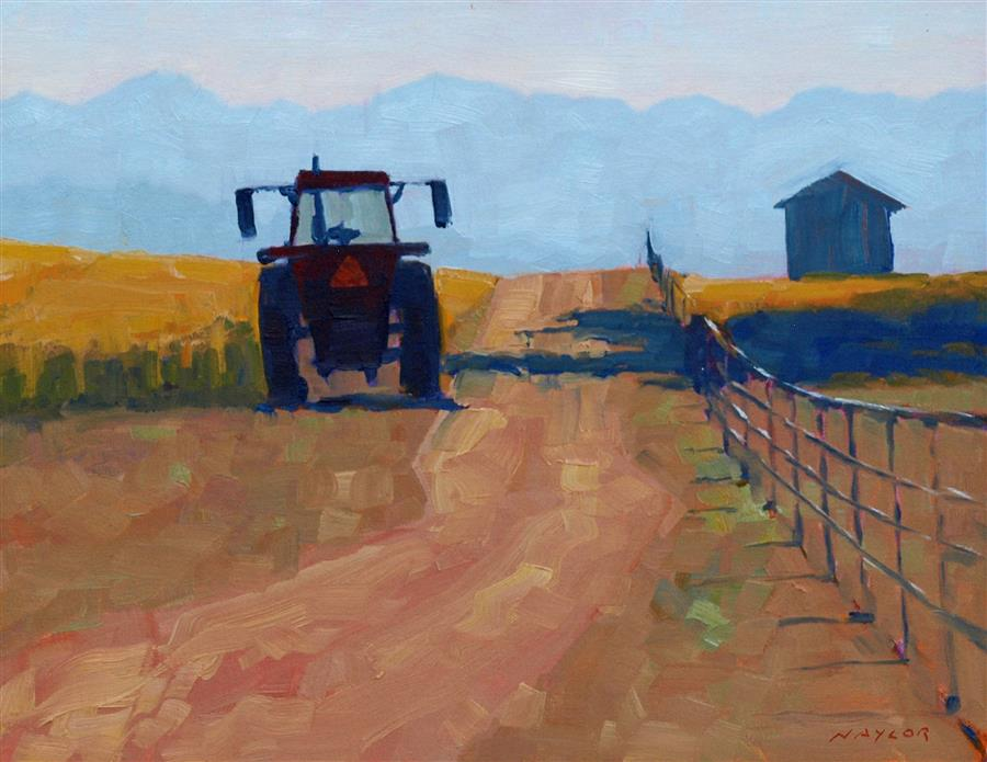 Original art for sale at UGallery.com | Tractor at Rest by RODGERS NAYLOR | $975 | Oil painting | 14' h x 18' w | ..\art\oil-painting-Tractor-at-Rest