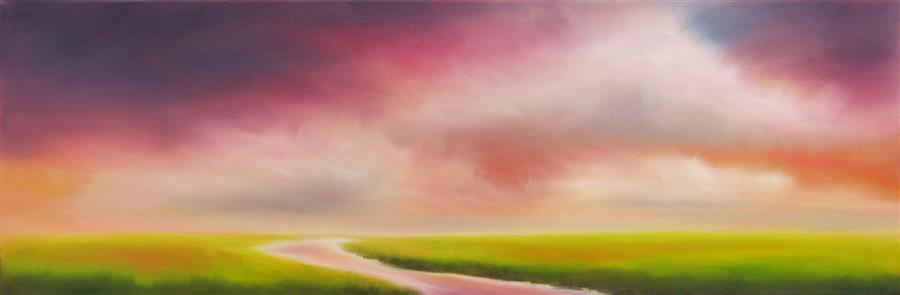 Original art for sale at UGallery.com | Colors in the Marsh Sky by NANCY HUGHES MILLER | $525 |  | 8' h x 24' w | ..\art\oil-painting-Colors-in-the-Marsh-Sky