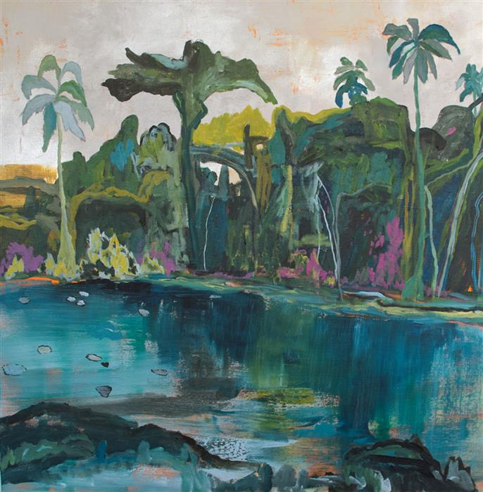 Original art for sale at UGallery.com | Damien's Cove by DAVID D'AGOSTINO | $1,225 | Mixed media artwork | 36' h x 36' w | ..\art\mixed-media-artwork-Damien-s-Cove