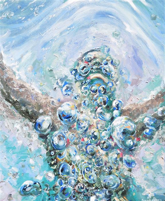 Original art for sale at UGallery.com | Breathing in Water by PIERO MANRIQUE | $1,375 |  | 30' h x 24' w | ..\art\oil-painting-Breathing-in-Water