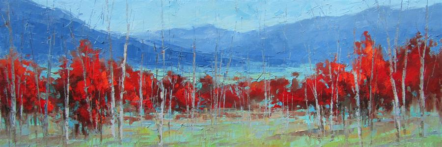 Original art for sale at UGallery.com | Crimson Landscape #1 by TRICIA MAY | $1,425 | Oil painting | 12' h x 36' w | ..\art\oil-painting-Crimson-Landscape-1