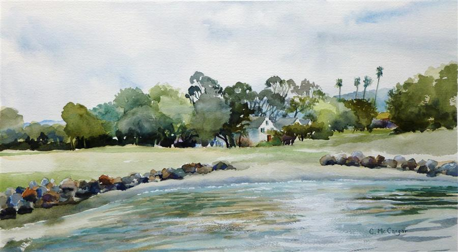 Original art for sale at UGallery.com | East Bay by CATHERINE MCCARGAR | $650 | Watercolor painting | 11.5' h x 20' w | ..\art\watercolor-painting-East-Bay