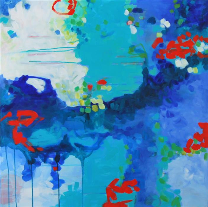 Original art for sale at UGallery.com | The Garden's Song by KARA BARKVED | $1,925 | Acrylic painting | 36' h x 36' w | ..\art\acrylic-painting-The-Garden-s-Song
