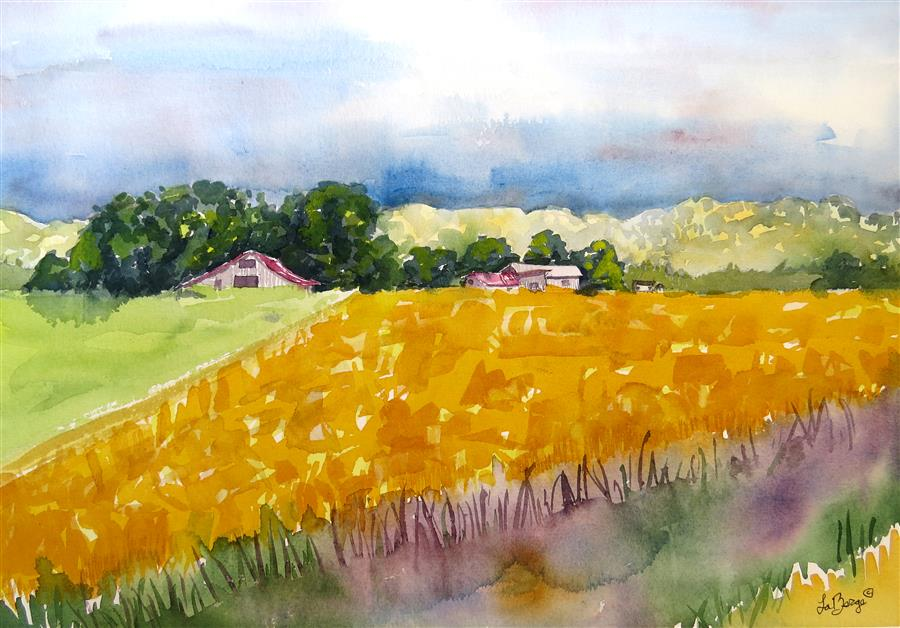 Original art for sale at UGallery.com | Yellow Safflower by NANCY MUREN | $650 | Watercolor painting | 15' h x 21' w | ..\art\watercolor-painting-Yellow-Safflower