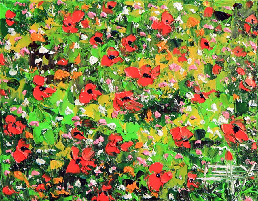 Original art for sale at UGallery.com | Wild Poppies by LISA ELLEY | $275 | Oil painting | 8' h x 10' w | ..\art\oil-painting-Wild-Poppies