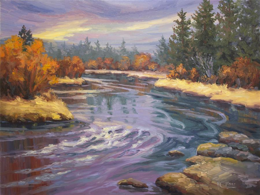 Original art for sale at UGallery.com | Deschutes Lavender Flow by KAREN E LEWIS | $3,000 |  | 30' h x 40' w | ..\art\oil-painting-Deschutes-Lavender-Flow