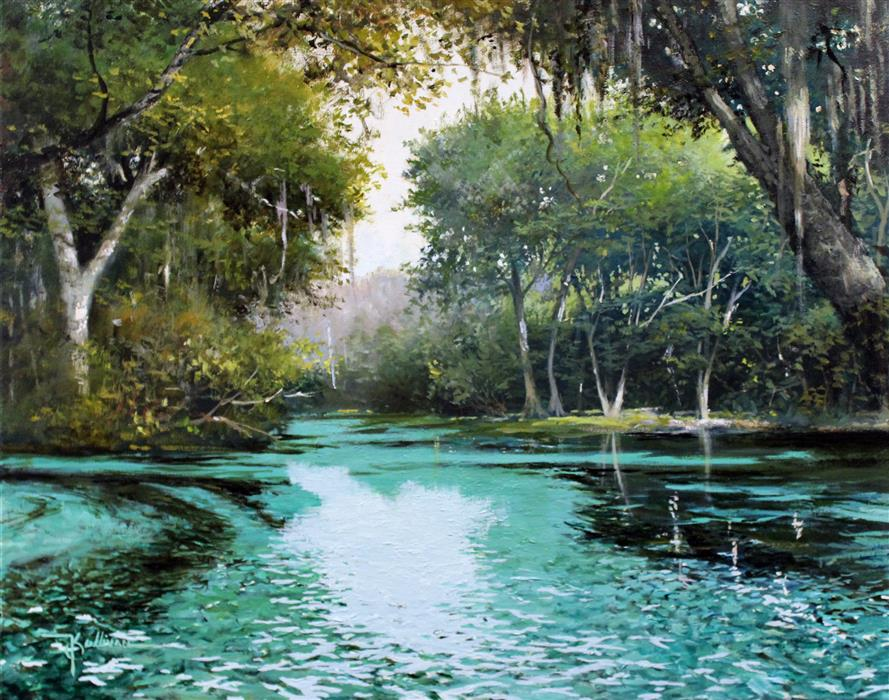 Original art for sale at UGallery.com | Blue Springs by KENT SULLIVAN | $1,300 | Oil painting | 16' h x 20' w | ..\art\oil-painting-Blue-Springs-46912