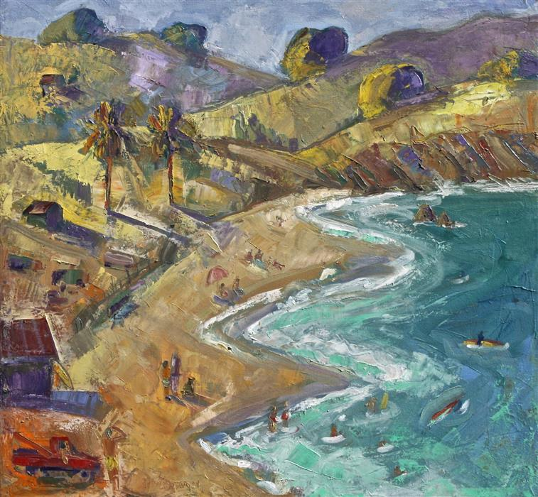 Original art for sale at UGallery.com | Marin Beach by JAMES HARTMAN | $1,600 |  | 28' h x 30' w | ..\art\oil-painting-Marin-Beach