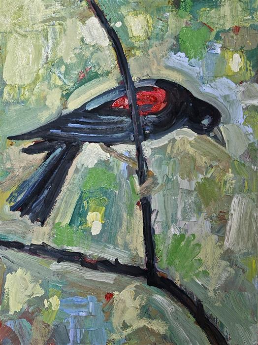 Original art for sale at UGallery.com | Red Winged Blackbird by JAMES HARTMAN | $275 |  | 12' h x 9' w | ..\art\oil-painting-Red-Winged-Blackbird-45131
