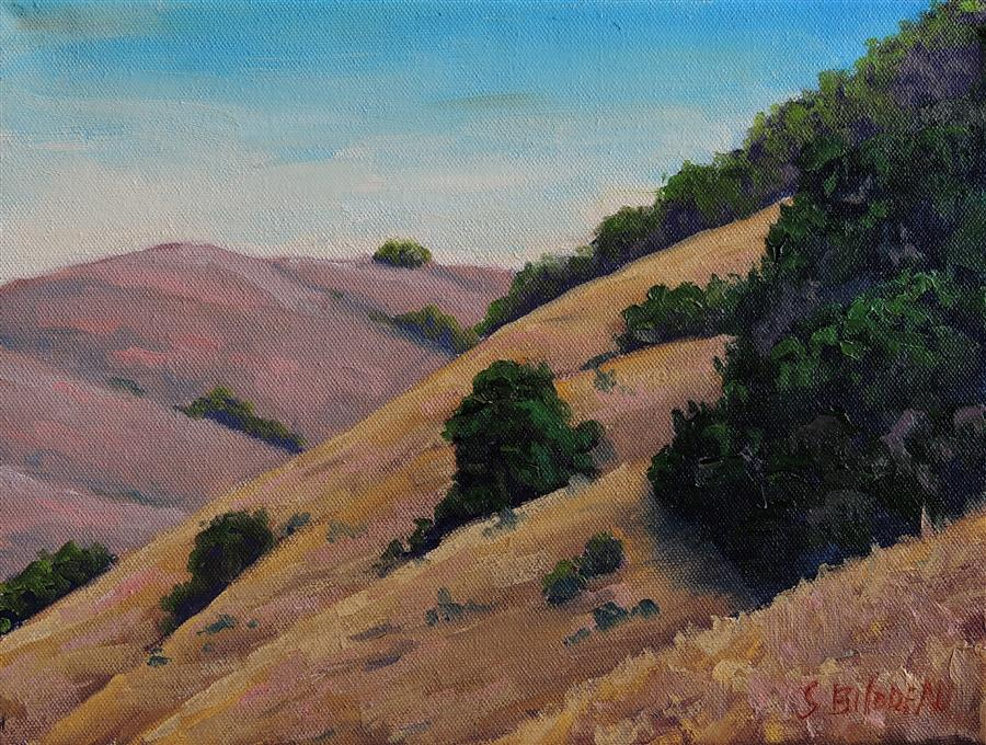 Original art for sale at UGallery.com | Sonoma County Golden Hills by STEVEN GUY BILODEAU | $375 |  | 9' h x 12' w | ..\art\oil-painting-Sonoma-County-Golden-Hills