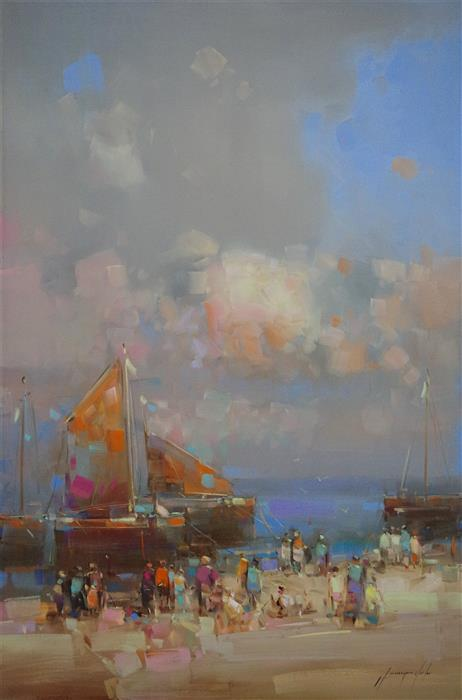 Original art for sale at UGallery.com | Harbor by VAHE YEREMYAN | $1,500 |  | 36' h x 24' w | ..\art\oil-painting-Harbor