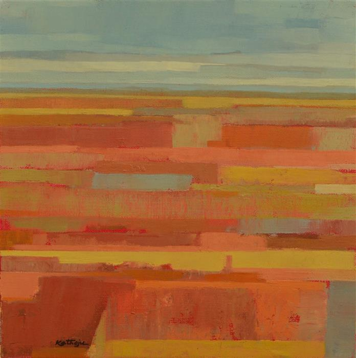 Original art for sale at UGallery.com | Orange Fields 2 by Srinivas Kathoju | $350 | oil painting | 12' h x 12' w | ..\art\oil-painting-Orange-Fields-2