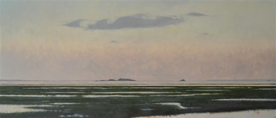 Original art for sale at UGallery.com | Morning over Gray Bay SC by CHRISTOPHER GARVEY | $950 |  | 12.5' h x 28.5' w | ..\art\oil-painting-Morning-over-Gray-Bay-SC