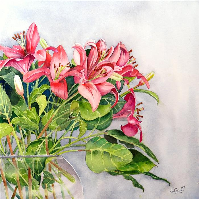 Original art for sale at UGallery.com | A Blush of Lilies by NANCY MUREN | $525 | Watercolor painting | 17' h x 17' w | ..\art\watercolor-painting-A-Blush-of-Lilies