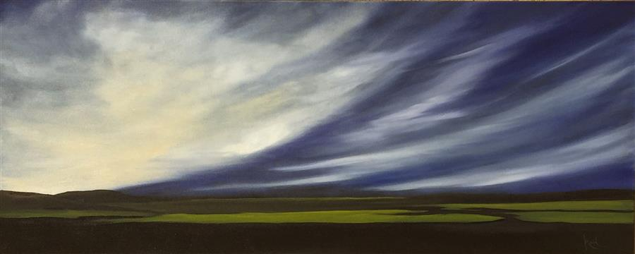 Original art for sale at UGallery.com | Aerial Dramatics IX by MANDY MAIN | $1,225 | Oil painting | 16' h x 40' w | ..\art\oil-painting-Aerial-Dramatics-IX