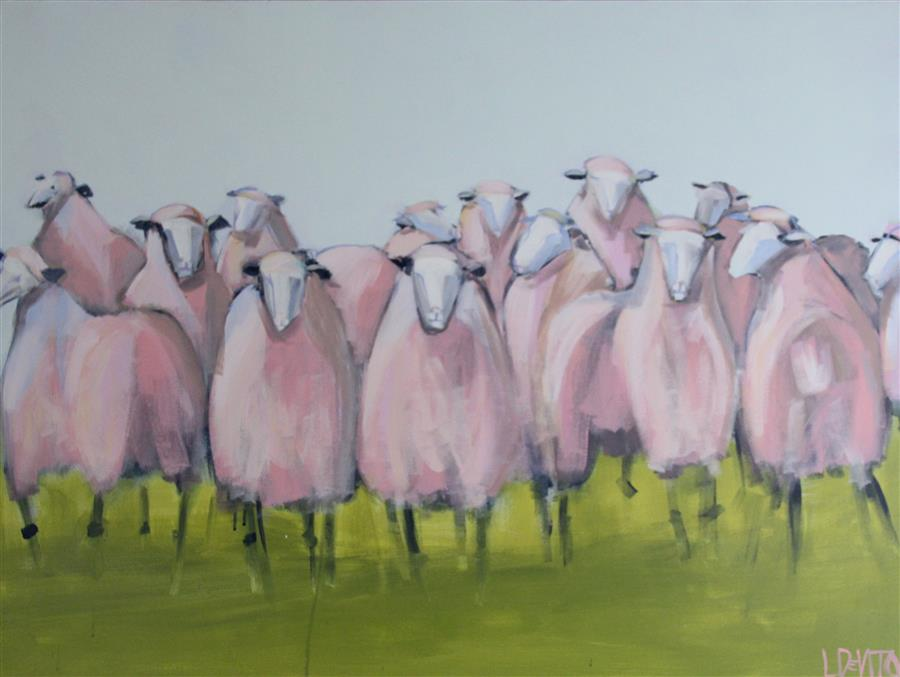 Original art for sale at UGallery.com | Pink Sheep by LESLI DEVITO | $2,125 |  | 30' h x 40' w | ..\art\acrylic-painting-Pink-Sheep
