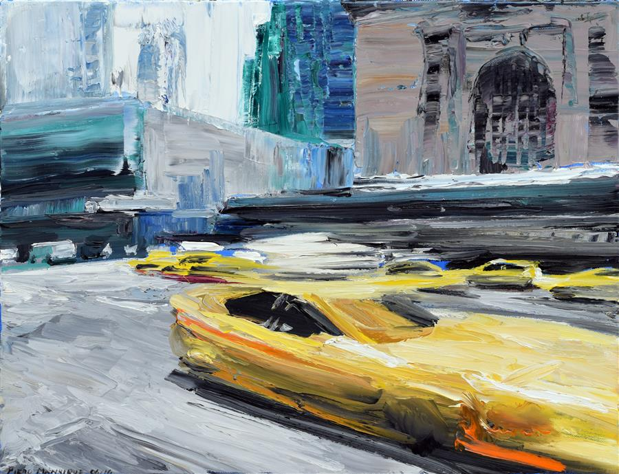 Original art for sale at UGallery.com | Taxi Ride by PIERO MANRIQUE | $775 |  | 16' h x 20' w | ..\art\oil-painting-Taxi-Ride-45273