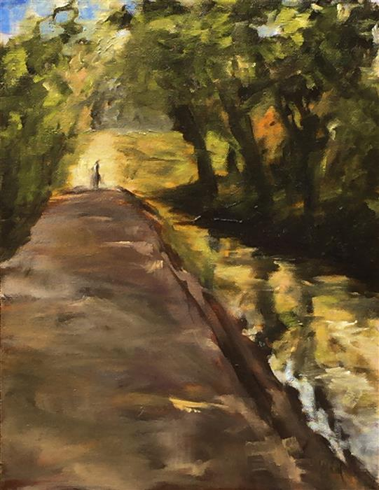 Original art for sale at UGallery.com | A Walk in the Shade by MANDY MAIN | $550 | Oil painting | 14' h x 11' w | ..\art\oil-painting-A-Walk-in-the-Shade