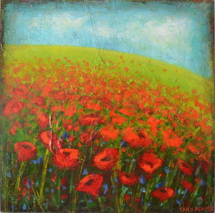 Original art for sale at UGallery.com | Monet's Poppies by SALLY ADAMS | $600 |  | 20' h x 20' w | ..\art\acrylic-painting-Monet-s-Poppies