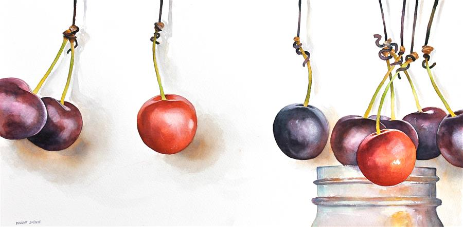 Original art for sale at UGallery.com | Cherry Jam by DWIGHT SMITH | $400 |  | 9' h x 18' w | ..\art\watercolor-painting-Cherry-Jam