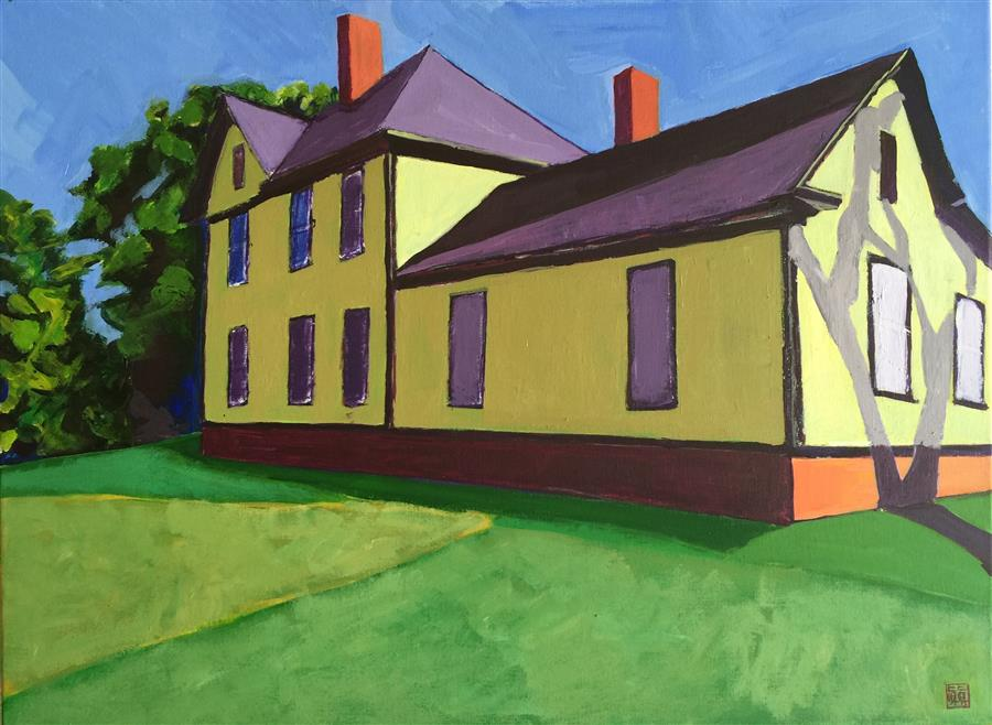 Original art for sale at UGallery.com | The Yellow Green House by LAURA (YI ZHEN) CHEN | $775 |  | 18' h x 24' w | ..\art\acrylic-painting-The-Yellow-Green-House