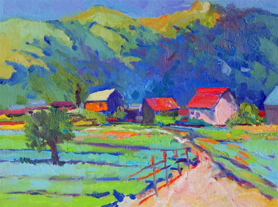 Original art for sale at UGallery.com | Farms by SUREN NERSISYAN | $300 |  | 9' h x 12' w | ..\art\oil-painting-Farms