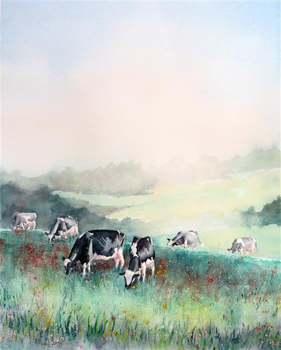 Original art for sale at UGallery.com | Misty Morning, Cows at Breakfast by NANCY MUREN | $725 |  | 22' h x 18' w | ..\art\watercolor-painting-Misty-Morning-Cows-at-Breakfast