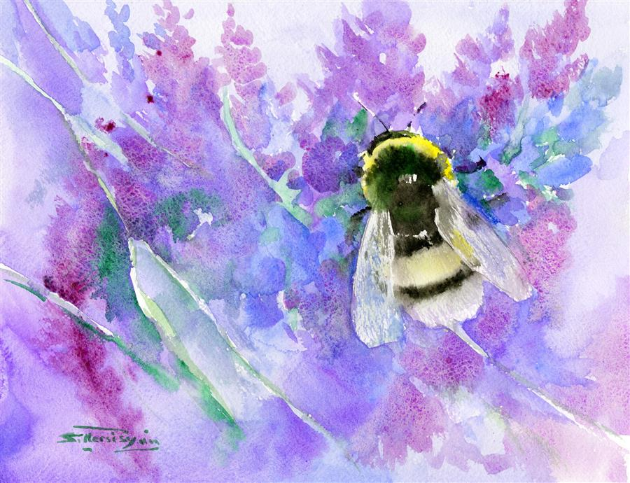 Original art for sale at UGallery.com | Bumblebee and Lavender Flowers by SUREN NERSISYAN | $250 | Watercolor painting | 11' h x 14' w | ..\art\watercolor-painting-Bumblebee-and-Lavender-Flowers